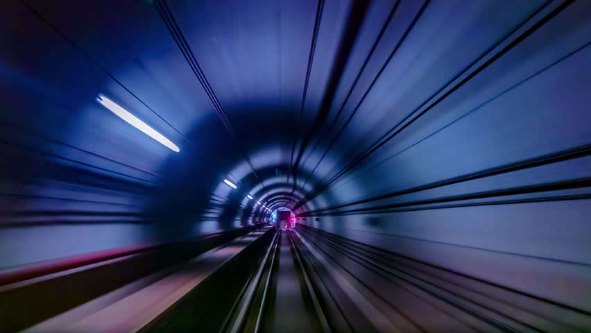 4K.Time lapse Subway tunnel fast speed | Shutterstock HD Video #1019614165