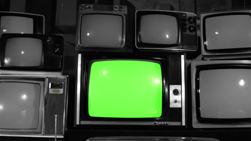 80s TV Green Screen with Many 80s Tvs. Dolly Out. Noir Tone. Ready to Replace Green Screen With any Footage or Picture you Want.  | Shutterstock HD Video #1019616145