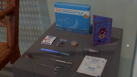 GERMANY - CIRCA JUNE 2017 - Sterile circumcision surgery kit on display, Hebrew Jewish religious ceremony