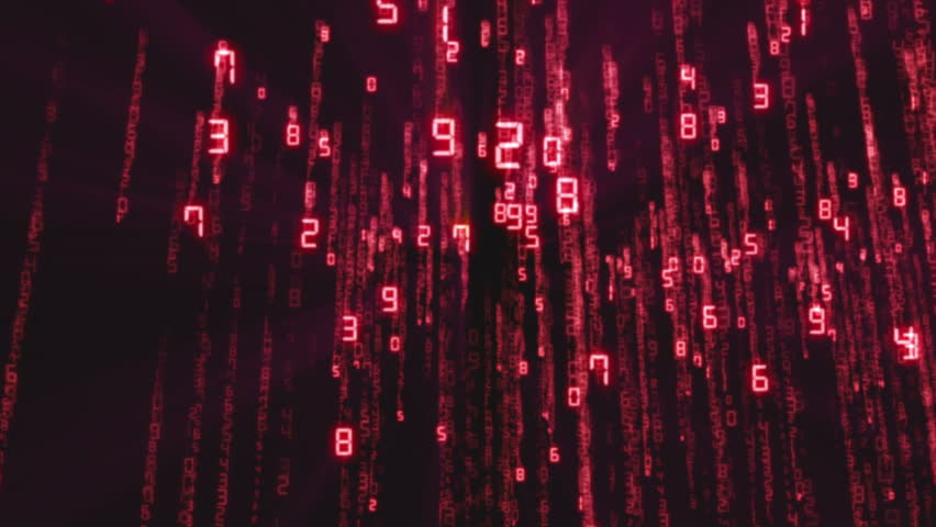 Binary rain, streams of red numbers, 4K abstract background, matrix effect.  | Shutterstock HD Video #1019632285