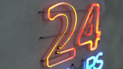 Glowing neon light sign open 24 hours. Blinking electric opensign on concrete wall. 3D render animation
