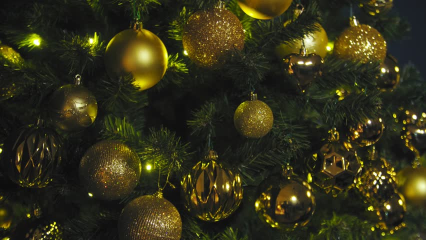 Sweet home. Gold Christmas decor on vintage natural wooden background. 4K | Shutterstock HD Video #1019653015