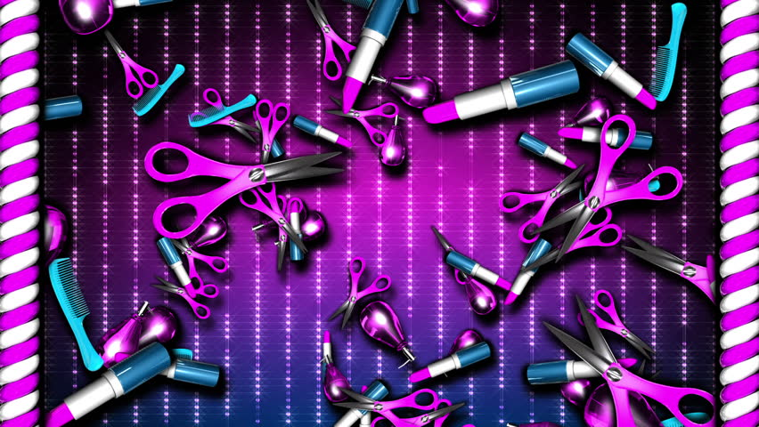 Pink and blue rising scissors, lipsticks and perfume bottles with sparkling pink and purple background | Shutterstock HD Video #1019675995