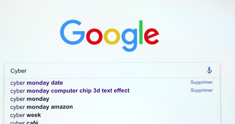"""Paris, France - March 20, 2018: Google Search Engine Search For Words """"Cyber Monday"""" In Google's Search Bar. Google.com Homepage. Close Up View Of A Computer Monitor Screen - DCi 4K Resolution"""
