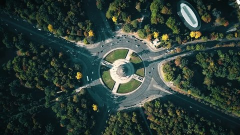 Aerial top down view of Berlin Victory Column and roundabout traffic. Germany