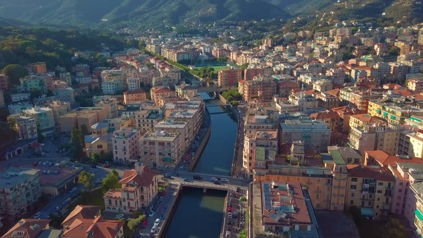 Aerial view of the Italian Riviera, Rapallo, Italy | Shutterstock HD Video #1019880475