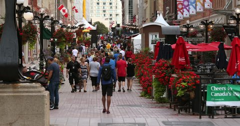 Ottawa, Canada - September 17, 2017: Tourists walk down the outdoor historical open air mall along Sparks Street in the downtown core of Ottawa Canada
