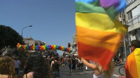 Tel Aviv/ Israel-10102018:Crowds celebrate and dance at gay pride in Tel Aviv Streets