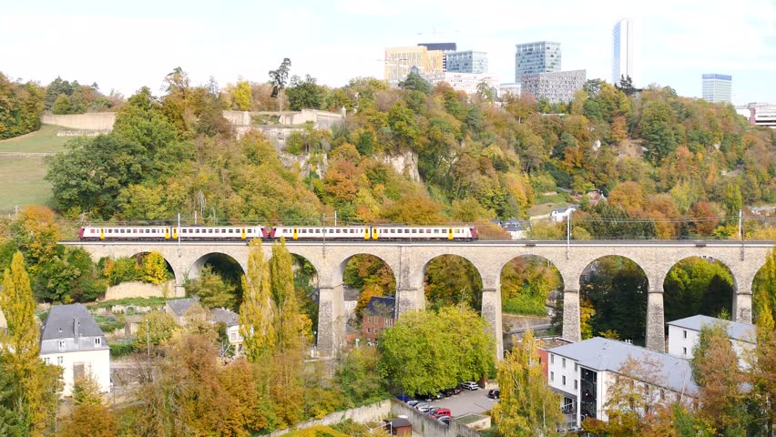 Cinemagraph in Luxembourg city, Europe. Trains are passing over an old bridge. Cinemagraphs are still photographs in which a minor and repeated movement occurs, forming a video clip.