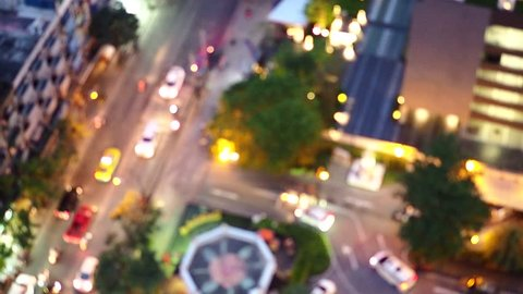 Blur video of Traffic and bokeh light, Abstract blurred Traffic at night, Abstract blur and defocused Traffic at night in Bangkok.