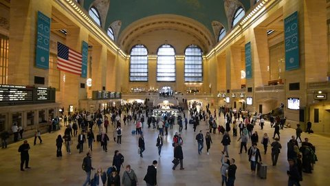 NEW YORK, USA - September 31, 2018: GRAND CENTRAL TERMINAL interior view. This historical train station largest train station in the world by number of platforms. Manhattan, New York.