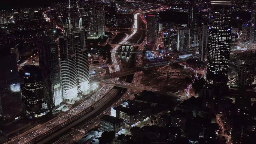 Night view on Tel Aviv bursa, aerial 4k   Shutterstock HD Video #1020291325
