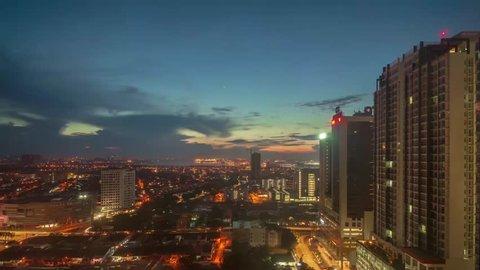 JOHOR BHARU, JOHOR / MALAYSIA - Nov 11, 2018 : Time Lapse during cloudy sunrise at Johor Bahru City.