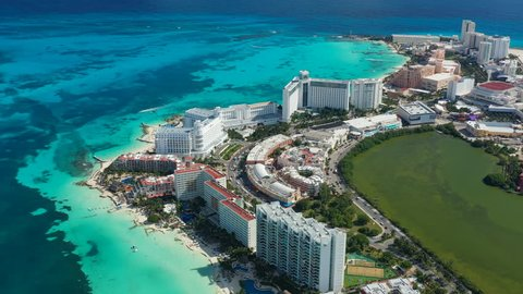 Aerial view of cityscape of Cancun, famous resort city by Caribbean Sea - landscape panorama of Yucatan Peninsula from above, Mexico, Central America, 4k UHD