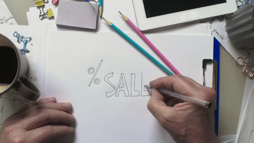 Artist draws an inscription - sale | Shutterstock HD Video #1020486715