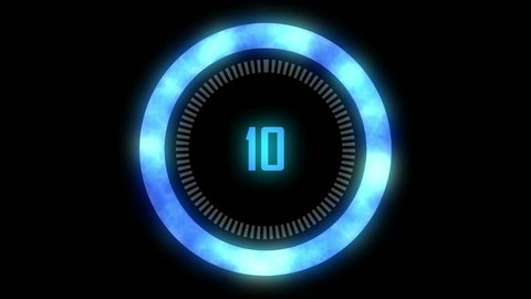 Blue Futuristic countdown 10 to 1. Technology Interference circle count down numbers from 10 to 1 glow ring.