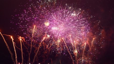 Fireworks show in 4K slow motion 60fps