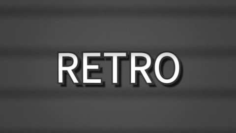 A sharp serious text, white letters on a grey background, appearing on a vintage TV screen with scanlines: Retro.