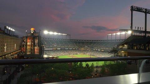 Baltimore, Maryland / United States - May 9 2018: Baseball Game at Oriole Park, Night