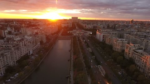 BUCHAREST, ROMANIA - SEPTEMBER 8, 2018: Aerial view of Palace of Parliament Parliament at sunset. Palace of Parliament or People's House in Romania is the world's largest civilian building.