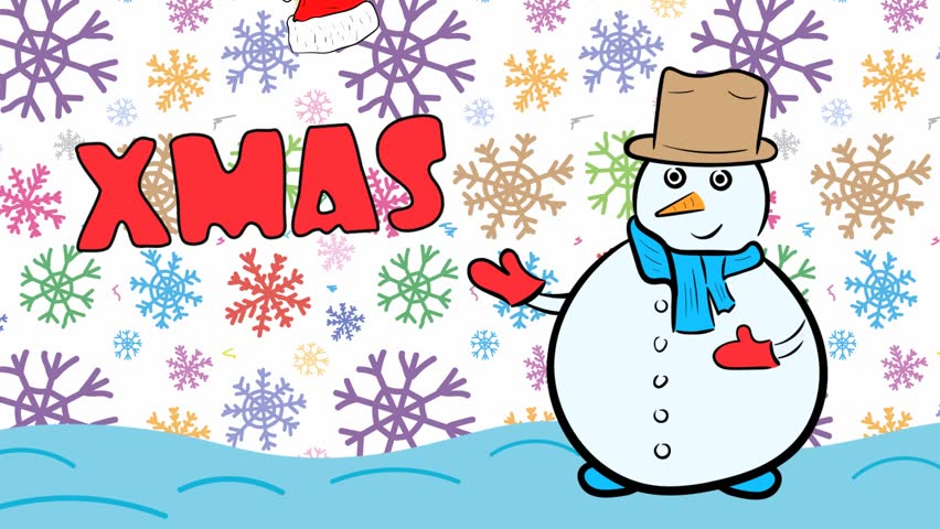 Snowman xmas and white color snowflakes | Shutterstock HD Video #1020702265