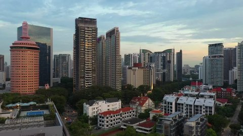 NOVEMBER 20, 2018: Aerial video of the Goldhill Plaza, Newton Suites Condominium and other skyscrapers in Novena. Newton Road. Singapore