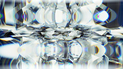 sparkling gemstone macro rotating seamless loop. kaleidoscope. 3d render, 3d animation