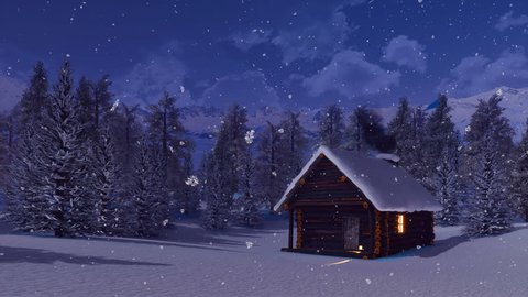 Cozy snowbound log cabin with smoking chimney among snow covered fir tree forest high in alpine mountains at magical winter night during snowfall. With no people 3D animation rendered in 4K