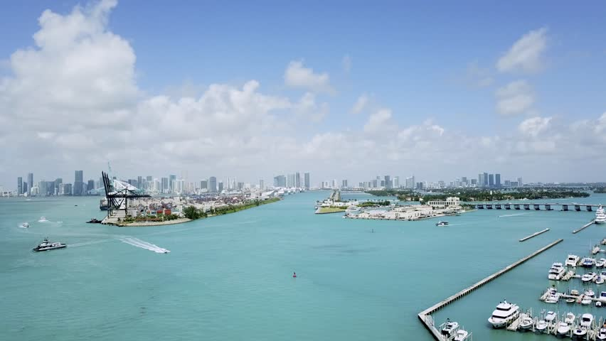 Drone Port of Miami, fly up #1020849325