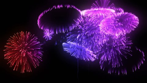 multiple volleys of fireworks isolated on black background. 3d animation 3d render close up view. Multicolored complex fireworks 18