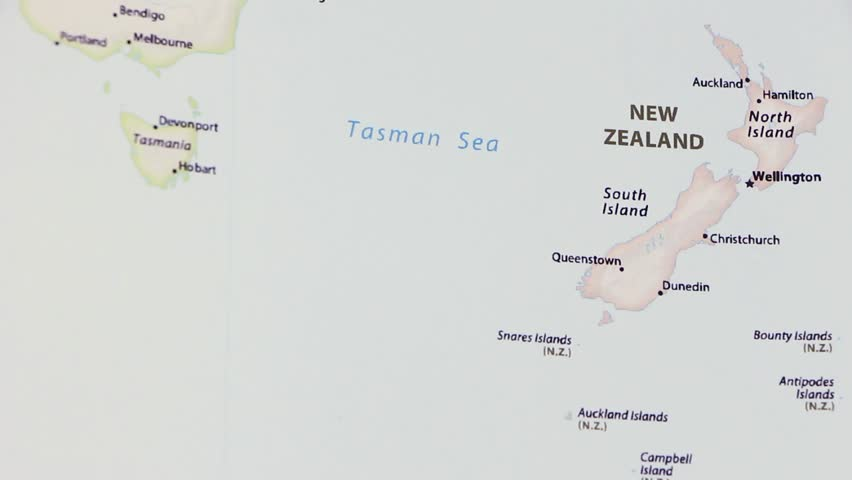 Political Map Of New Zealand.New Zealand On A Political Stock Footage Video 100 Royalty Free