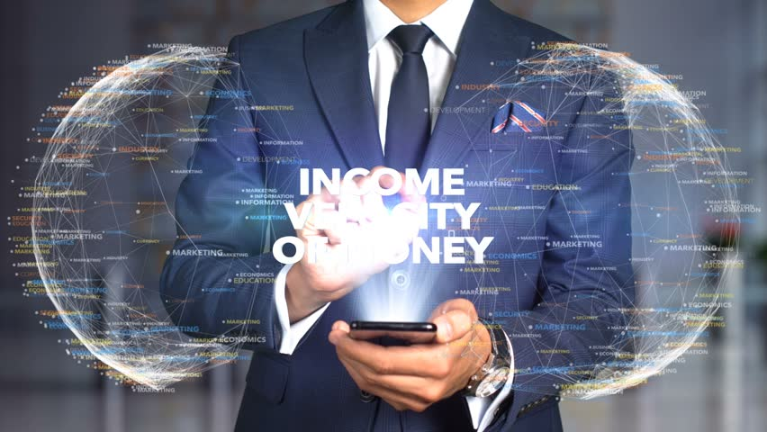 Businessman Hologram Concept Economics - Income velocity of money   Shutterstock HD Video #1020895735