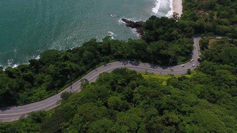 São Sebastião, São Paulo / Brazil - 12/05/2018: Aerial view of Rio-Santos Road (SP-055) and Cambury Beach