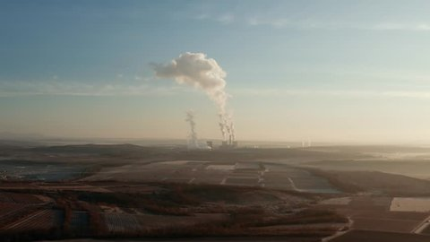Power plant polluting the atmosphere in Visonta, Matra, Hungary, Hyperlase drone aerial