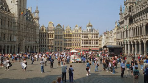 Brussels, Belgium - 21.04.2018: Main Square or Grand Place or Grote Markt with old guildhall building is mani touristic attraction and landmark of Brussels and Belgium.