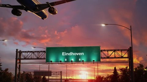 Airplane Landing at Eindhoven during a wonderful sunrise