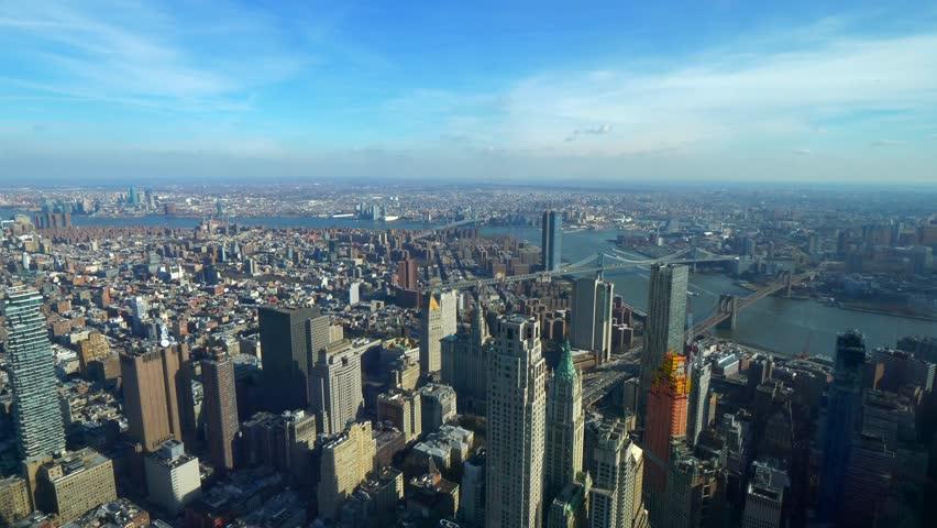 Amazing aerial view over Manhattan New York #1020961285