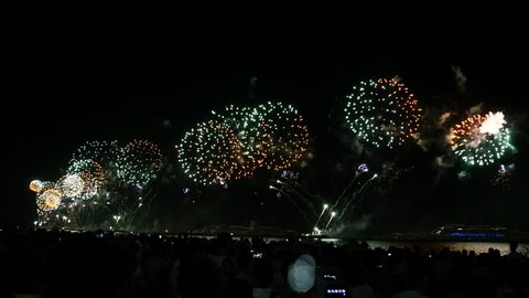 Fireworks show in the New Year's Eve in Copacabana, Rio de Janeiro