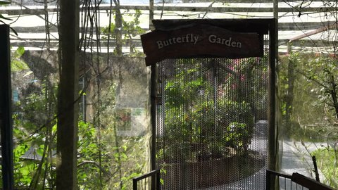 Chiang Mai / Thailand - DEC 1, 2018: The Entrance to the fenced garden for butterflies in the contact zoo Siam Insect Zoo in the north of Thailand