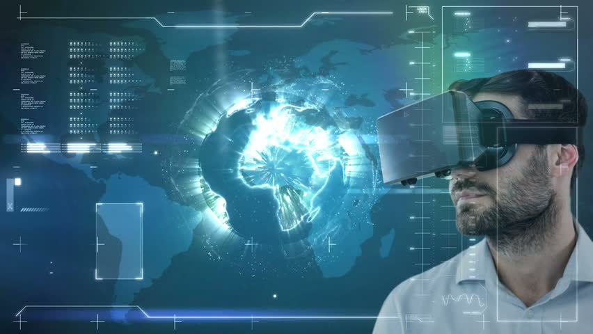Digital composite of businessman using VR against blue animated background | Shutterstock HD Video #1021119745