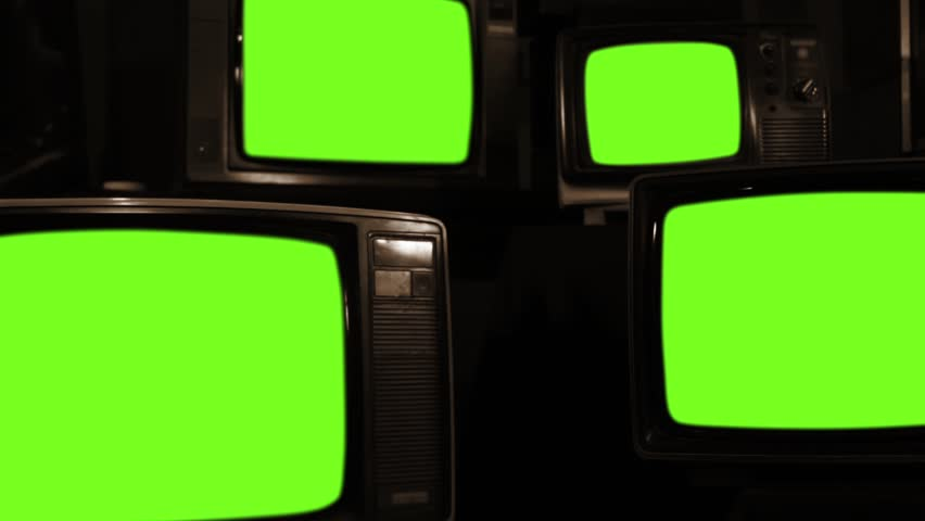 "Old Tvs Turning Off Green Screen. Sepia Tone. Zoom Out. Ready to Replace Green Screens with any Footage or Picture you Want. You can do it with ""Keying"" (Chroma Key) effect in Adobe After Effects. 