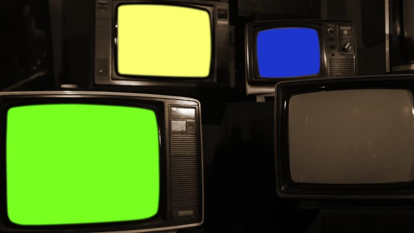 "Old Tvs Turning On Different Chroma Screen. Sepia Tone. Ready to Replace Chroma Screens with any Footage or Picture you Want. You can do it with ""Keying"" (Chroma Key) effect. 