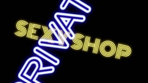 Many neon signs with text (Girls, Live Show, Nude, Topless, Open, Peep, Private, Sexy, Strip Club, XXX) coming to the viewer with a rotation. Black background.