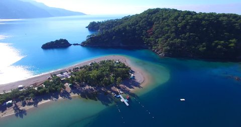 aerial drone footage of famous tourism place blue lagoon oludeniz fethiye turkey