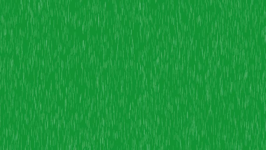 Rain falling on the green screen