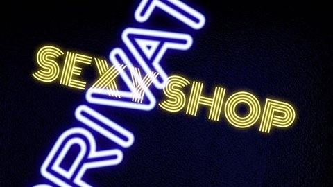 Many neon signs with text (Girls, Live Show, Nude, Topless, Open, Peep, Private, Sexy, Strip Club, XXX) coming to the viewer with a rotation, with a frosted glass surface as a background.