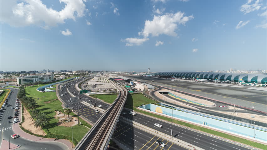 4K Time lapse - Aerial view of airport terminal in Dubai International Airport