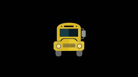 School Bus icon animation with black background. Icon design. Video Animation. 4K.