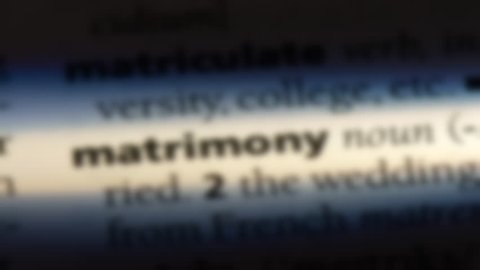 matrimony word in a dictionary. matrimony concept.