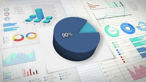 90 percent Pie chart with various economic finances graph.
